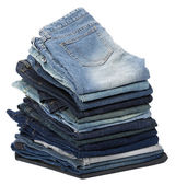 Isolated Jeans Stacks — Stock Photo