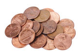 Isolated Pile of Pennies — Stock Photo