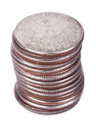Isolated Quarter Dollar Coin Stack — Stock Photo