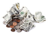 Crumpled Cash and Change — Stock Photo