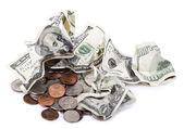 Crumpled Cash and Change — Stock Photo