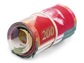 Roll of 200 Israeli New Shekels Bills — Stock Photo