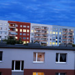 East Berlin Apartment Building Blocks at Dusk — Stock Photo