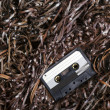 Blank Recordable Audio Cassette on Magnetic Tape - Selective Focus — Stock Photo #22422737
