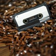 Blank Recordable Audio Cassette on Magnetic Tape - Selective Focus — Stock Photo
