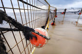 Winter Beach Buoy and Fence — Stock Photo