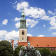 St. Mary's Church (Marienkirche) & Neptune Fountain (Neptunbrunn — Stock fotografie