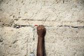 Att göra en önskan på klagomuren — Stockfoto
