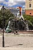 Neptune Fountain Alexanderplatz, Berlin, Germany — Foto Stock