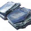 Isolated Jeans Stacks - Stock Photo