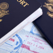 American Passports & Immigration Stamps Background - Stock Photo