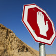 Stop Sign in the Desert - Stock Photo
