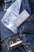 Audio Cassettes on Denim — Stock Photo