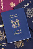 Israeli Passport on Passports Stack — Stock Photo