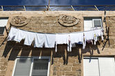 White Laundry Drying on the Clothline — Stock Photo