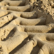 Tire Tracks in the Sand - Close Up — Stock Photo
