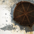 Metal Wall with Rusty Vent - Stock Photo