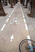 Bicycle Lane & Wheel — Stock Photo