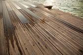 Wet Wooden Dock & Sea — Stock Photo