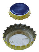 Isolated Blue and Yellow Metal Caps — Foto Stock