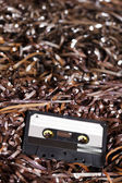Blank Recordable Audio Cassette on Magnetic Tape - Selective Focus — 图库照片
