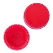 Two angles of a red plastic bottle cap. — Stock Photo