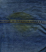 Denim Fabric Texture - with Seam & Stain — Stock Photo