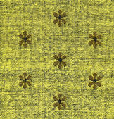Cotton Fabric Texture -Yellow with Khaki Patterns XXXXL — Stock Photo
