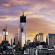 Winter Sunset Freedom Tower Lower Manhattan New-York - Stock Photo