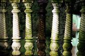 White to Green Porch Banister Pillars — Stock Photo