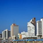 Tel Aviv Beach and Hotel Strip — Stock Photo