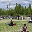 Mauerpark Flea Market Sunday Panorama — Stock Photo