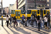 Pedestrians Waiting for Green Light at Alexanderplatz — Stock Photo