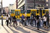 Pedestrians Waiting for Green Light at Alexanderplatz — Stock Photo