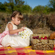 Little girl on a picnic — Foto Stock