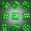 Vector illustration green dice — Stock Vector