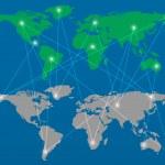 Modern globe connections network design, vector illustration — Stock Vector #22758478