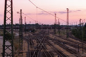 Railway station on a summer evening — Stock Photo