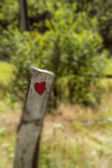 Love symbol painting on old wooden fence — Stok fotoğraf