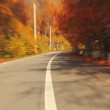 Autumn motion blurred road — Stock Photo
