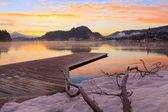 Sunrise on the Bled lake — Stock Photo