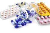 Medicines on white background — Stock Photo