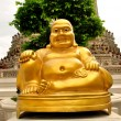 Smiling Golden Buddha Statue, Chinese God of Happiness — Stock Photo