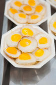 Fried quail egg with foam plate — Stock Photo
