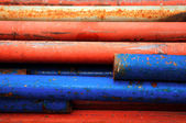 Closed up old iron pipe texture background — Stock Photo