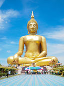 Big golden Buddha at Wat Muang of Ang Thong province Thailand — Stock Photo