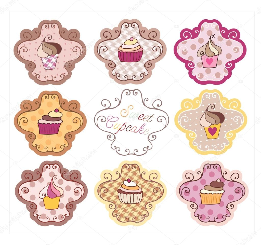 Vintage Cupcake Set — Stock Illustration © Lidija Sipovac #