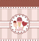 Sweet Card Design With Ice Cream — Stock Vector