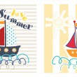 Summer Card With Boat  — Stock Vector