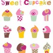 Colorful Cupcake Set  — Stock vektor